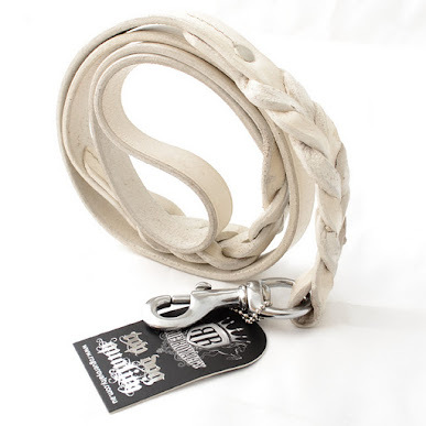 Leather Dog Lead - Arctic White