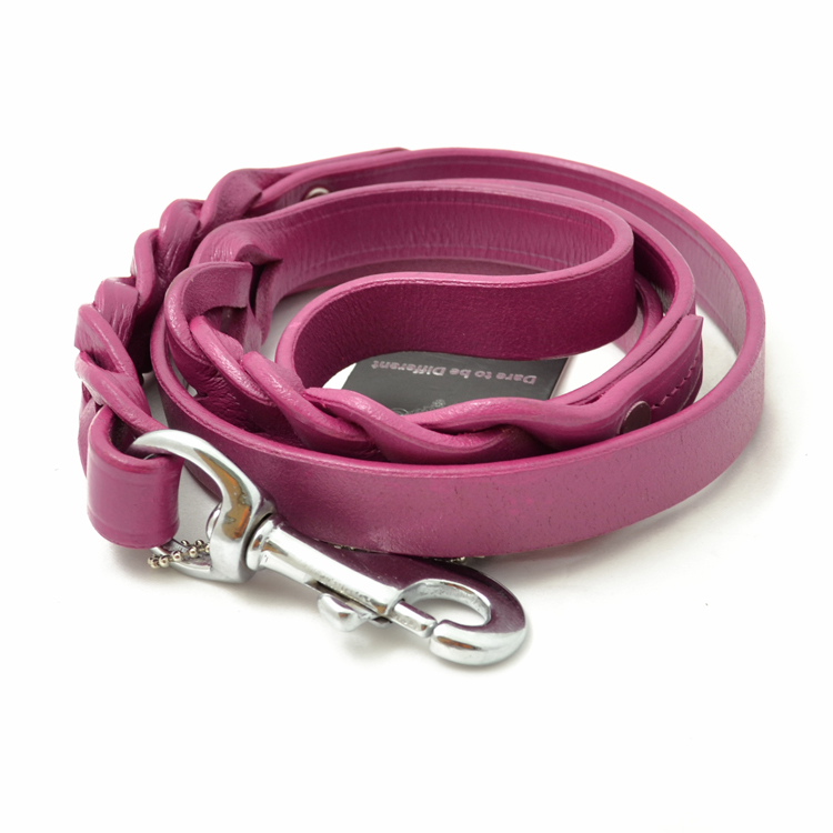 Leather Dog Lead - Fuscia