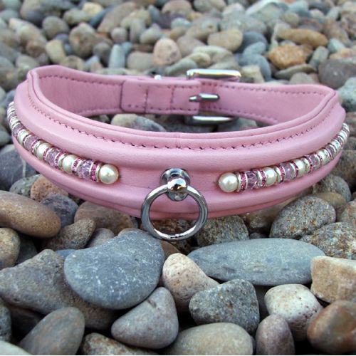 """PINK PEARLS LEATHER COLLAR"""